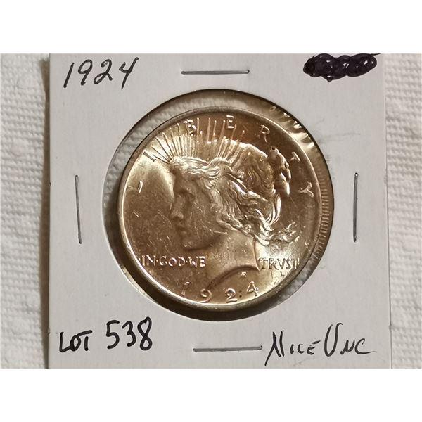 1924 peace silver dollar, unc