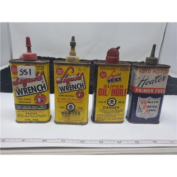 4 vintage oiler cans