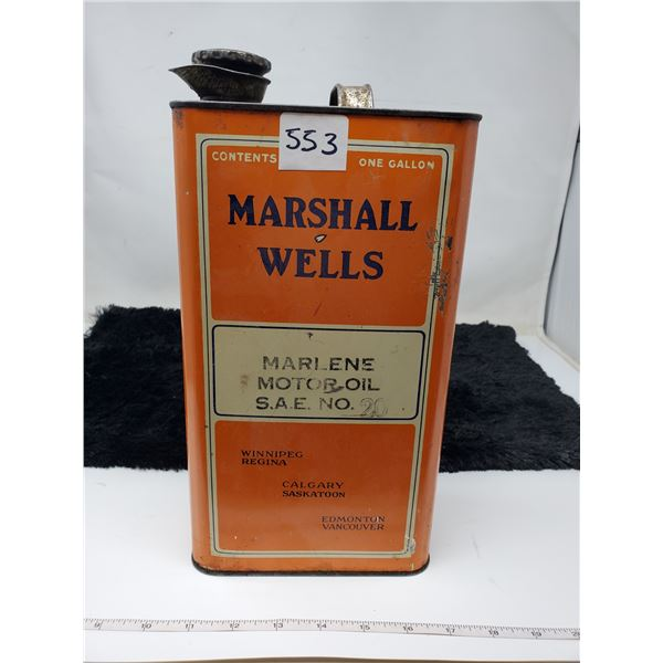 marshall wells one gallon square oil can