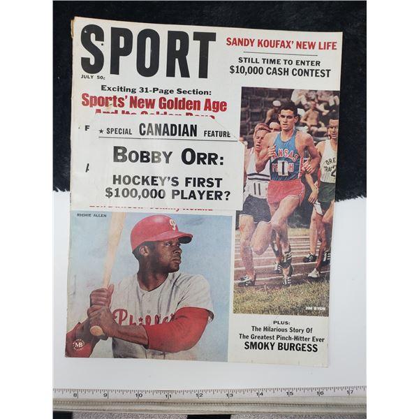1967 sport magazine (bobby orr first 100,000 player)
