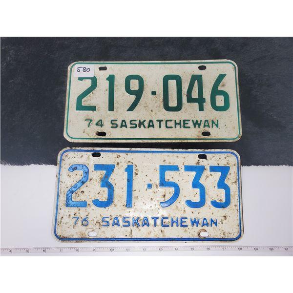 1974, 1976 saskatchewan license plates