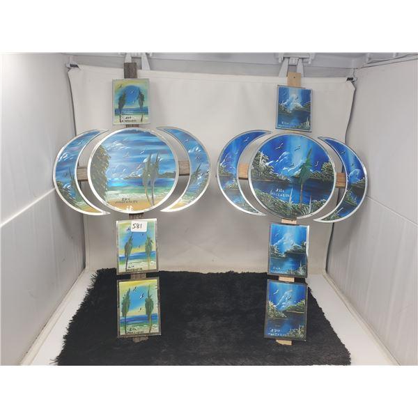2 hand painted cross mirrored glass