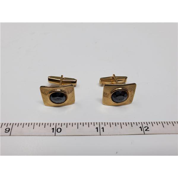 amethyst quartz gemstone cufflink set
