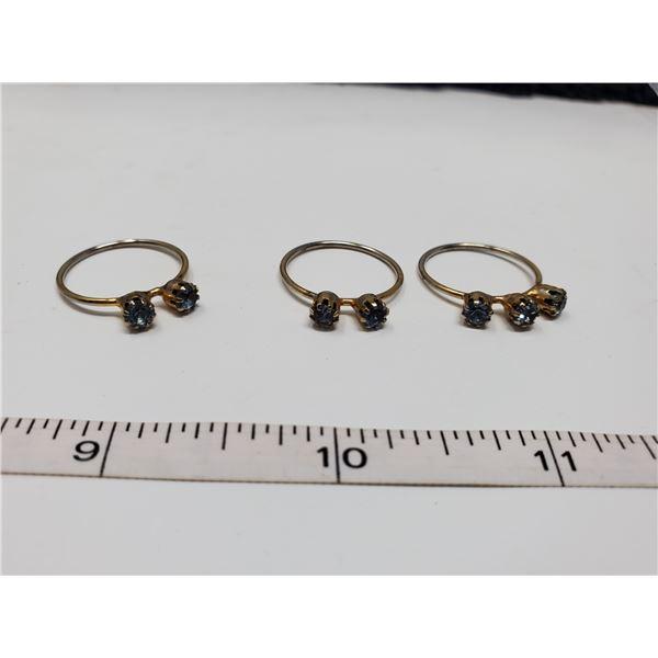set of 3 rings blue topaz stone