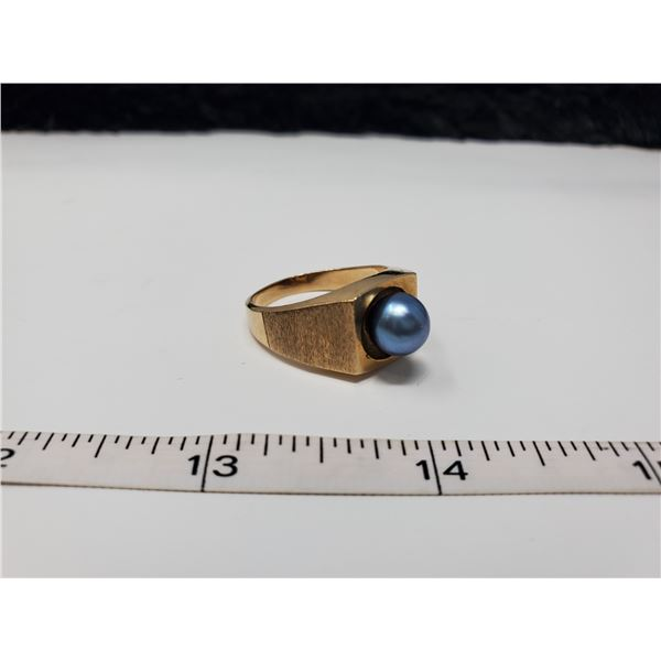 ring with blue ball 10k