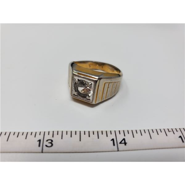 gold plated ring w/ clear stone