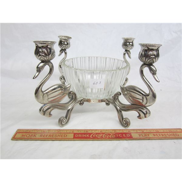 Silver Plated Swan Candelabra with Center Bowl