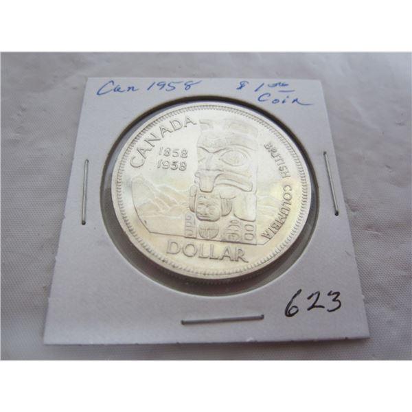 Canadian 1958 Silver Dollar