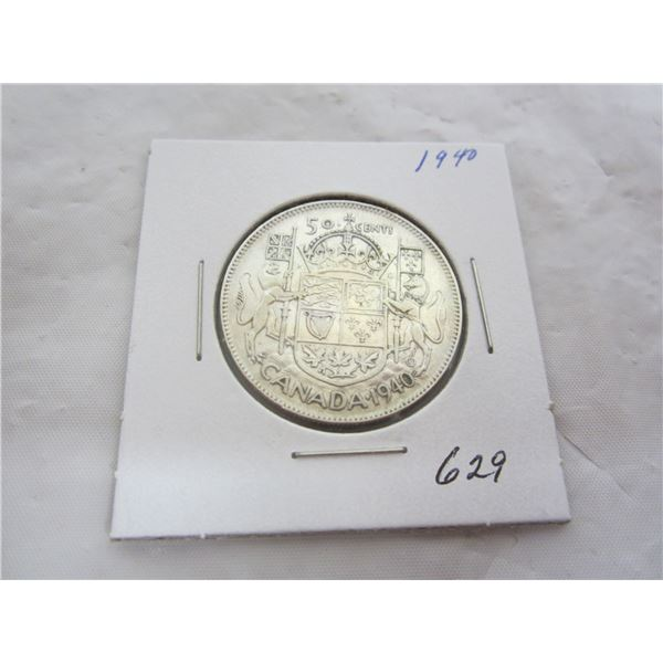Canadian Silver 1940 Fifty Cent piece