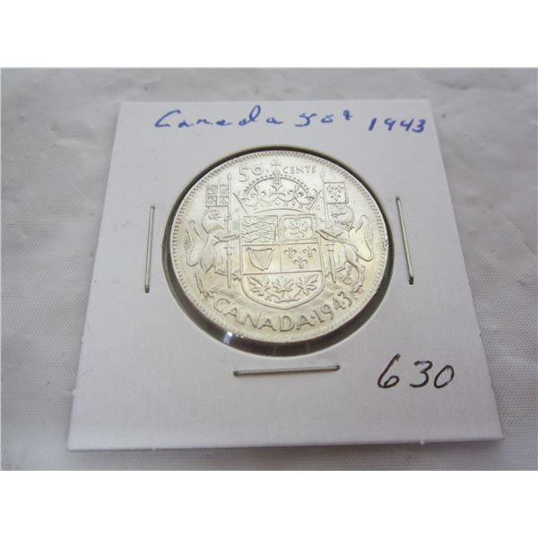 Canadian Silver 1943 Fifty Cent piece
