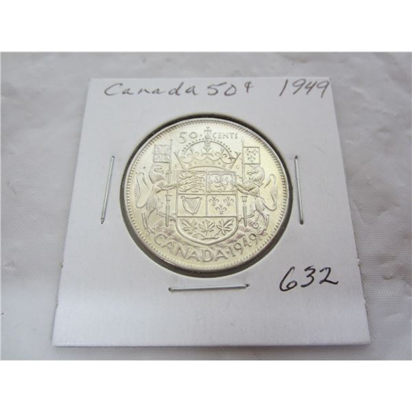 Canadian Silver 1949 Fifty Cent piece