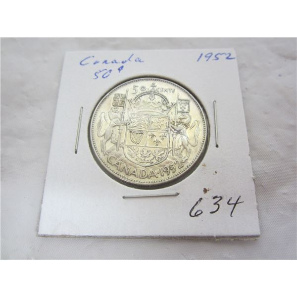 Canadian 1952 Silver Fifty Cent piece