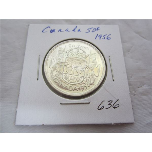 Canadian 1956 Silver Fifty Cent piece