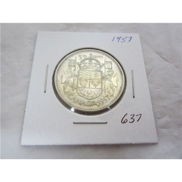 Canadian 1957 Silver Fifty Cent piece