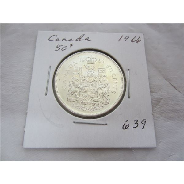 Canadian Silver 1966 Fifty Cent piece