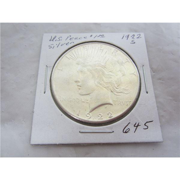 US Peace 1922 S Silver Dollar