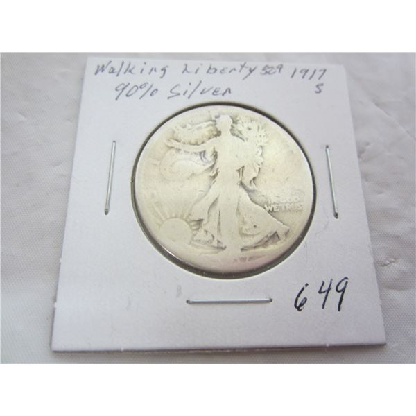 1917 S Walking Liberty Silver Fifty Cent piece