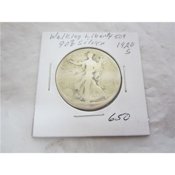 1920 S Walking Liberty Silver Fifty Cent Piece