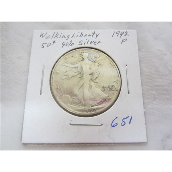 1942 P Walking Liberty Silver Fifty Cent piece