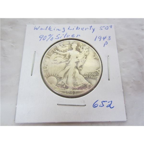 1943 P Walking Liberty Silver Fifty Cent piece