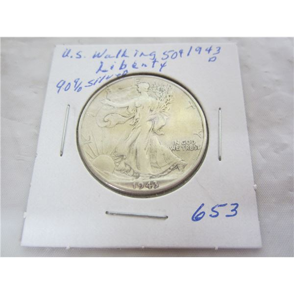 1943 D Walking Liberty Silver Fifty Cent piece