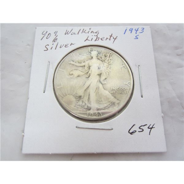 1943 S Walking Liberty Silver Fifty Cent piece