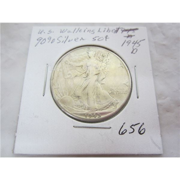 1945 D Walking Liberty Silver Fifty Cent piece