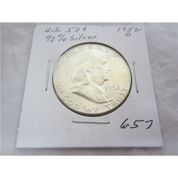 1952 D Benjamin Silver Fifty Cent piece