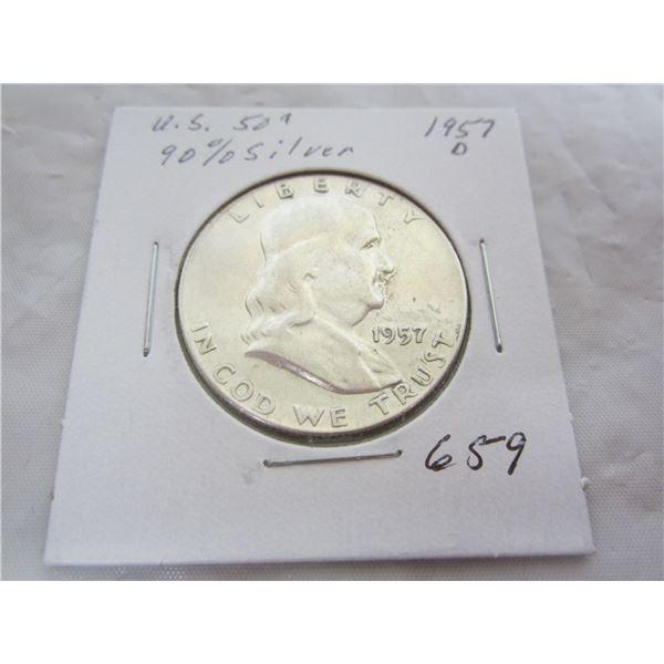1957 D Benjamin Silver Fifty Cent piece