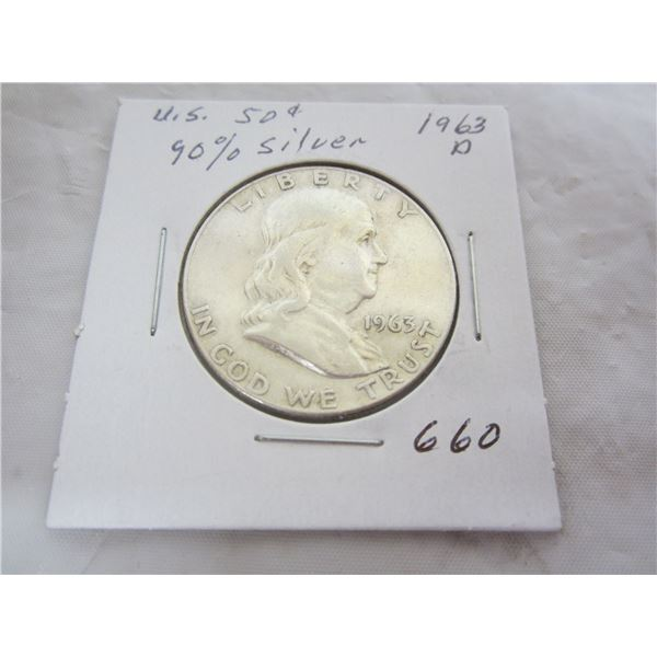 1963 D Benjamin Silver Fifty Cent piece