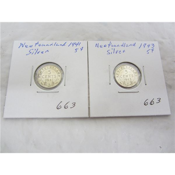 2 Silver Newfoundland 5 Cent pieces 1941 and 1943
