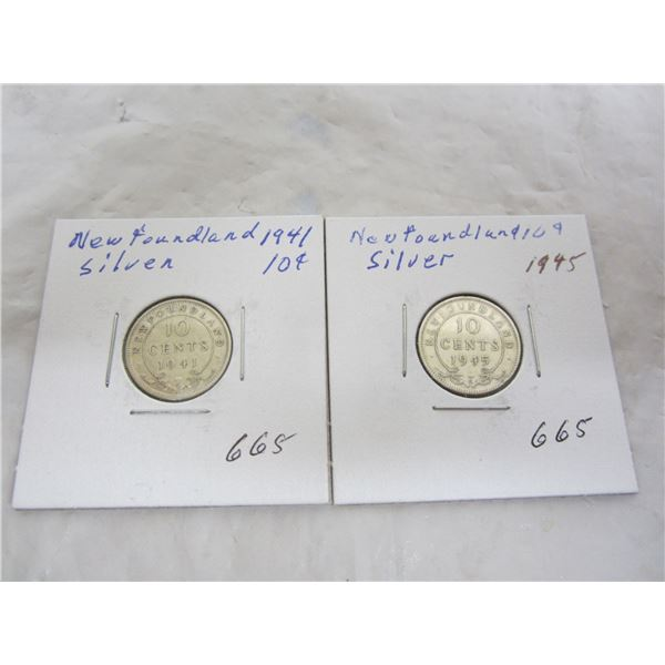 2 Silver Newfoundland Dimes 1941 and 1945