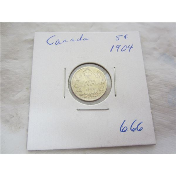 Canadian Silver 5 cent 1904