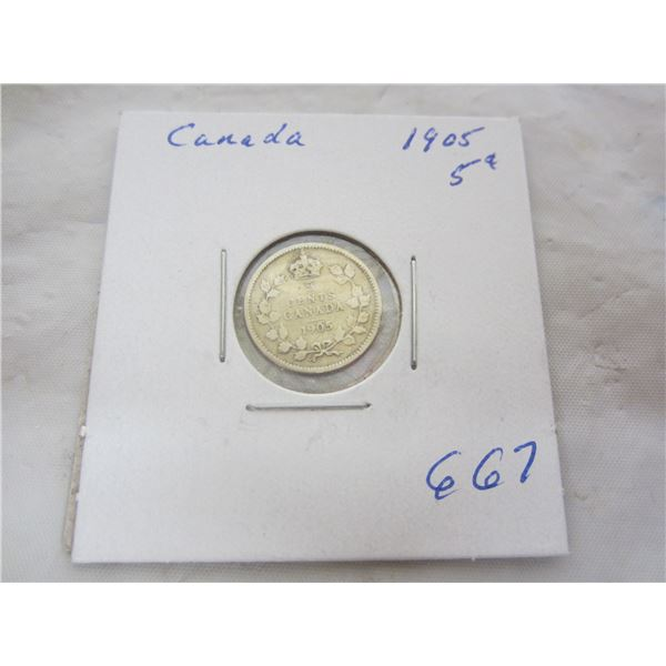Canadian Silver 5 Cent 1905