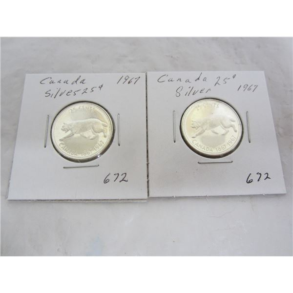 2 Silver 1967 Lynx Quarters