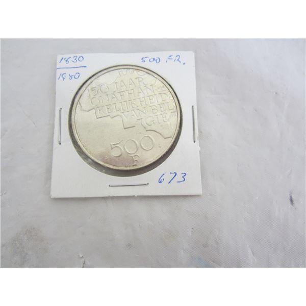 Large Belgium 500 Franc 1980 coin