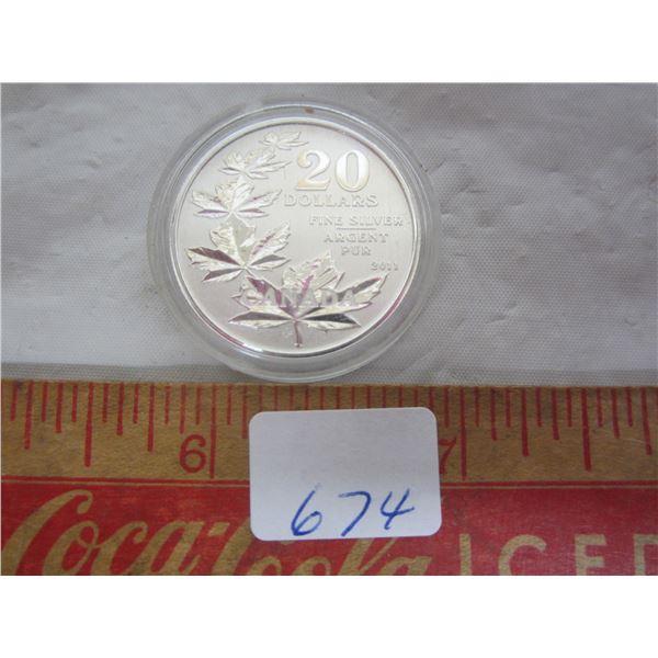 Canadian 2011 Silver 20 Dollar Mapleleaf Coin