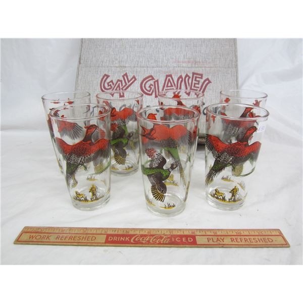 Set of 7 Gay Glasses 1950's by Hazel Atlas with box