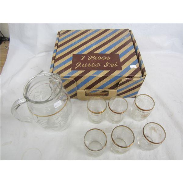 7 piece Glass Juice Set with box 1960's
