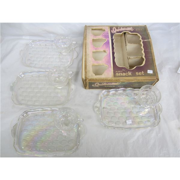 Federal Glass 8 piece Iridescent Snack Set with box 1960's