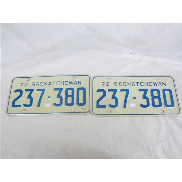 Pair of 1972 Saskatchewan License Plates
