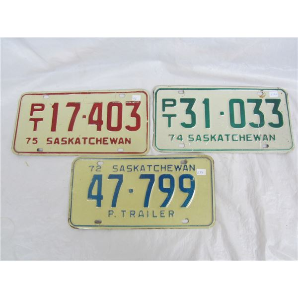 3 Saskatchewan Trailer Plates1972,1974,1975