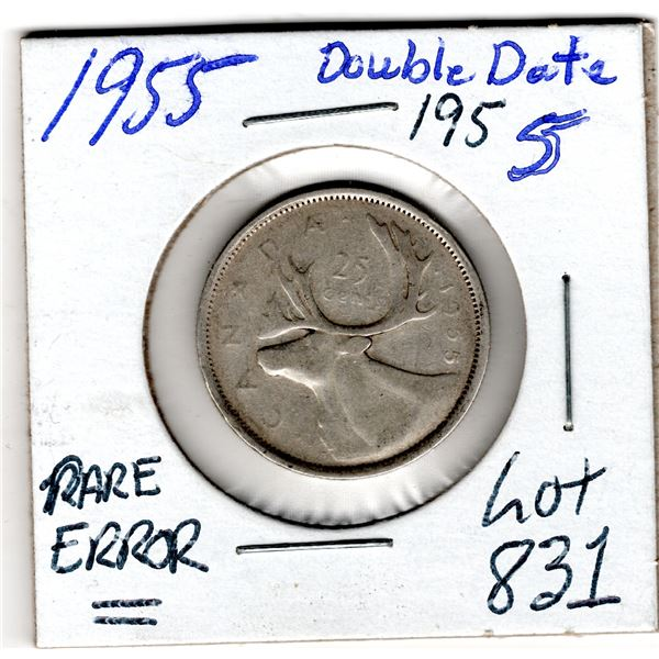 831 RARE 1955 25 CENT DOUBLE DATE