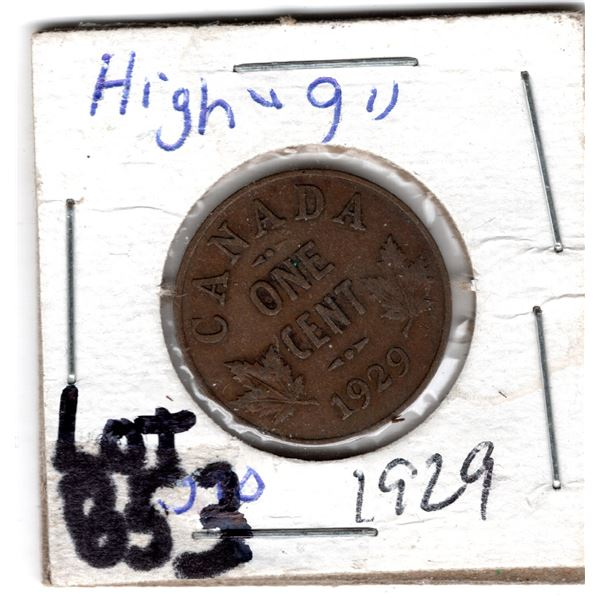 853 1929 HIGH 9 VARIETY ONE CENT