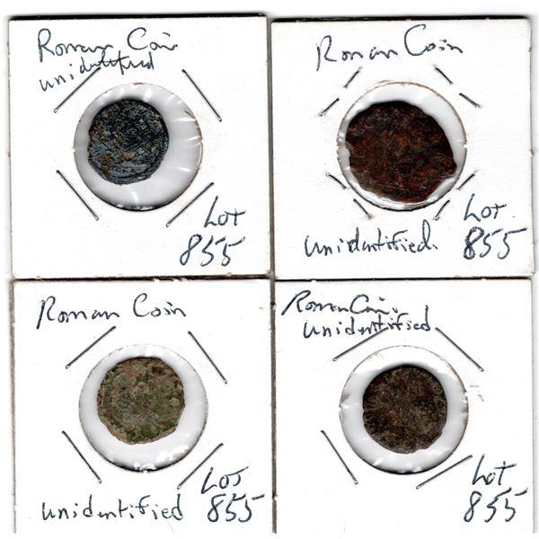 855 FOUR UNIDENTIFIED ROMAN COINS