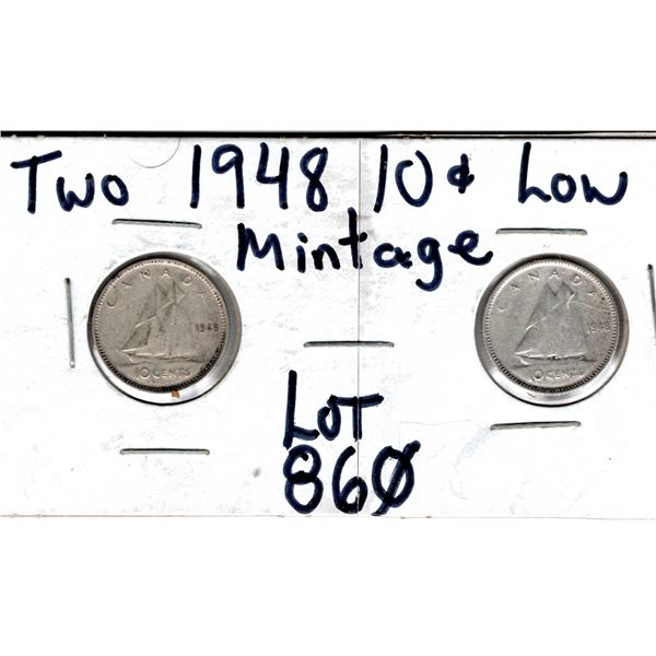 860 TWO LOW MINTAGE 1948 10 CENTS