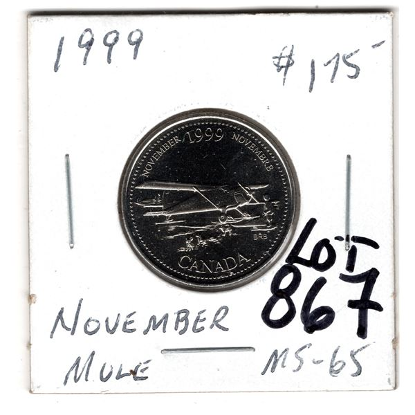 867 1999 NOVEMBER MULE 25 CENT