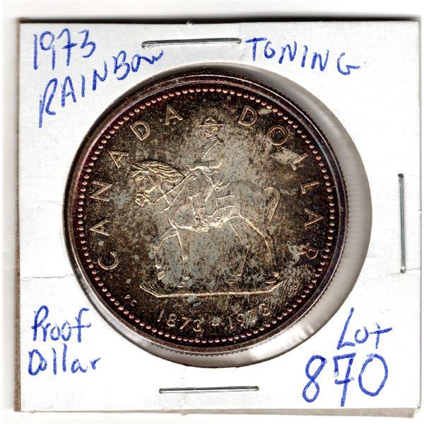 870 1973 RCMP SILVER DOLLAR RAINBOW TONED BACK