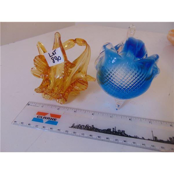 890 COBALT BLUE SWAN AND AMBER BLOWN GLASS BASKET