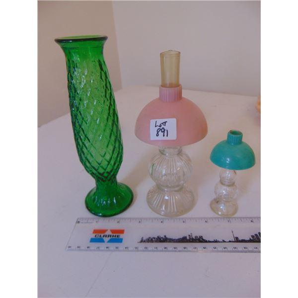 891 E.O. BRODY GREEN VASE & LAMP SHADE PERFUME BOTTLES